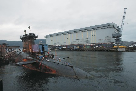 Pictured: The Vanguard Class ballistic missile submarine Vengeance alongside at HM Naval Base Clyde. Photo: Nigel Andrews.