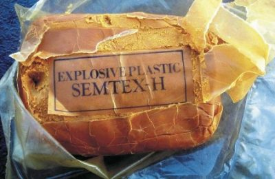 A package of SEMTEX explosive discovered aboard the Rhib set adrift by Gaddafi forces off Misrata. Photo: NATO.