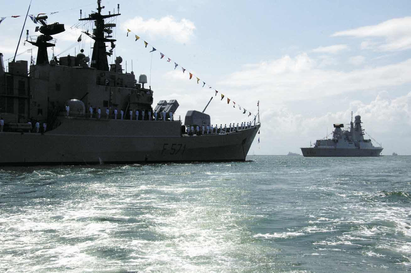 Pictured: The frigate ITS Grecale (nearest camera) and the Caio Duilio. Photo: Guy Toremans.