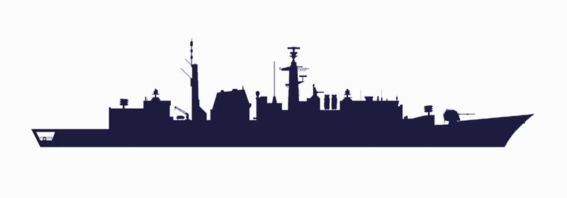 A silhouette graphic of a Type 22 (Batch 3) frigate, a type of warship unwisely discarded under the current government's Strategic Defence and Security Review. Image: Dennis Andrews. Photo: Nigel Andrews.
