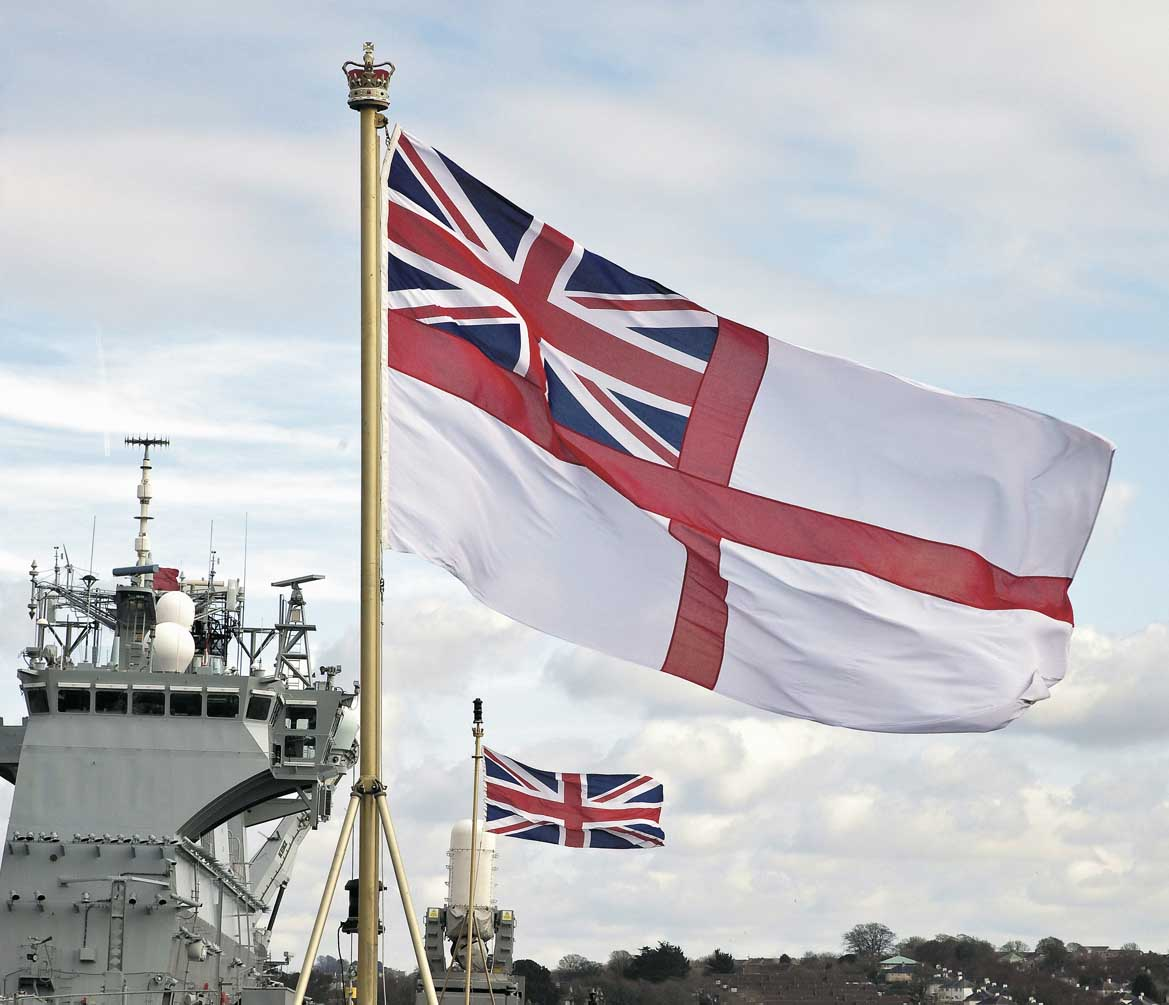 Pictured: The White Ensign flies proudly from the stern of HMS Bulwark. Photo: Nigel Andrews.
