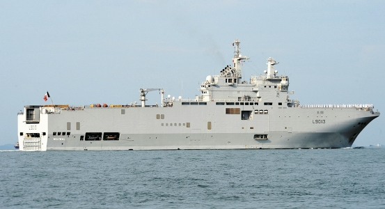 Pictured: The French Navy LHD Mistral at Singapore to take part in the IMDEX Asia 2011 Exhibition.  Photo: Guy Toremans.