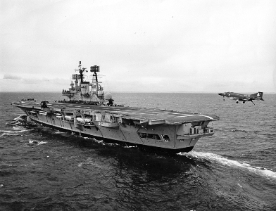 Pictured: HMS Ark Royal IV recovers one of her Phantom fighters. Photo: Smith Collection.