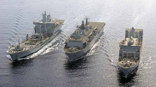 Pictured: Ships of the COUGAR 11 task group on deployment. Photo: LA (Phot) Keith Morgan/Royal Navy.