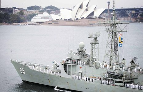 Pictured: In early 2011, the frigate HMAS Melbourne sails past the Opera House to Fleet Base East as she returns from a six month Operation Slipper deployment. Photo: ABIS Sarah Williams/RAN.