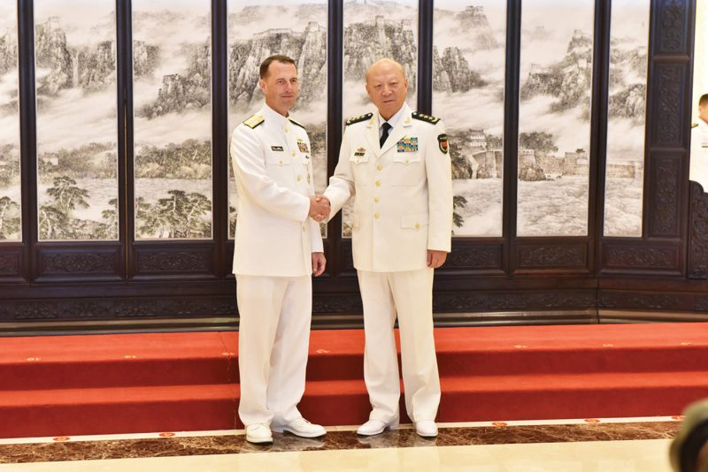 US Chief of Naval Operations (CNO) Admiral John Richardson meets with Admiral Wu Shengli, Commander of the People's Liberation Army Navy (PLAN), at the naval headquarters in Beijing. Photo: US Navy.